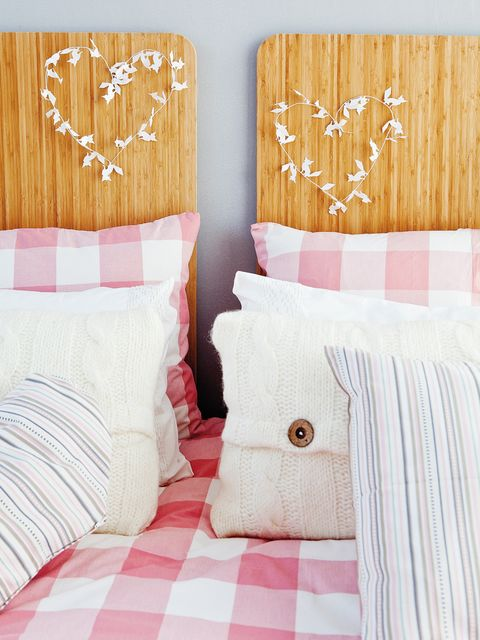 Wood, Bed, Room, Bedding, Textile, Interior design, Bedroom, Linens, Bed sheet, Pink,