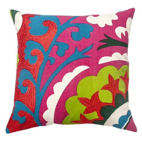 Green, Throw pillow, Textile, Cushion, Pillow, Pink, Pattern, Linens, Teal, Orange,