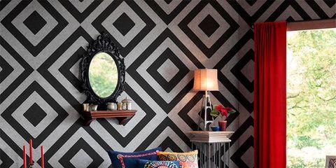 Room, Interior design, Textile, Linens, Floor, Bedding, Interior design, Lamp, Bedroom, Lighting accessory,