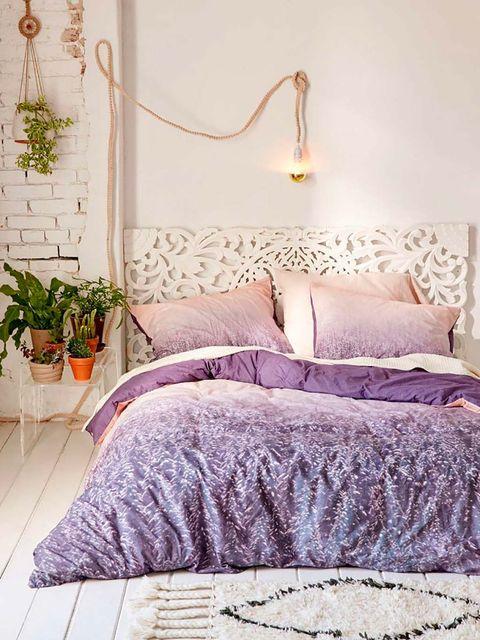 Bed, Bedroom, Furniture, Bed sheet, Bedding, Purple, Room, Bed frame, Lilac, Pink,