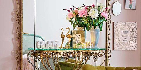 Yellow, Furniture, Interior design, Chair, Flowerpot, Petal, Interior design, Bouquet, Cut flowers, Flower Arranging,