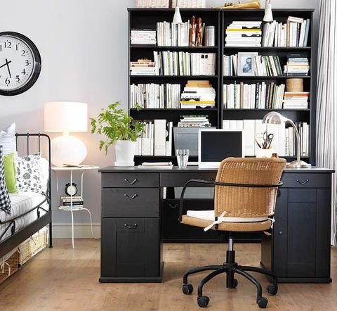 Room, Interior design, Drawer, Furniture, White, Office chair, Wall, Computer desk, Shelf, Table,
