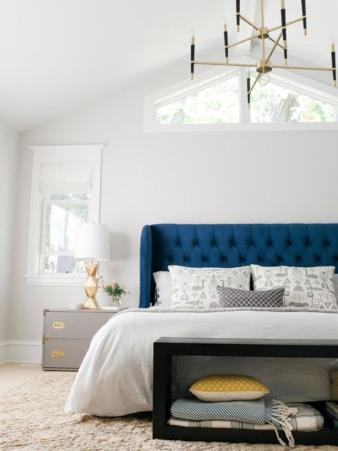 Furniture, Bedroom, Room, Bed, White, Blue, Interior design, Yellow, Property, Bed frame,