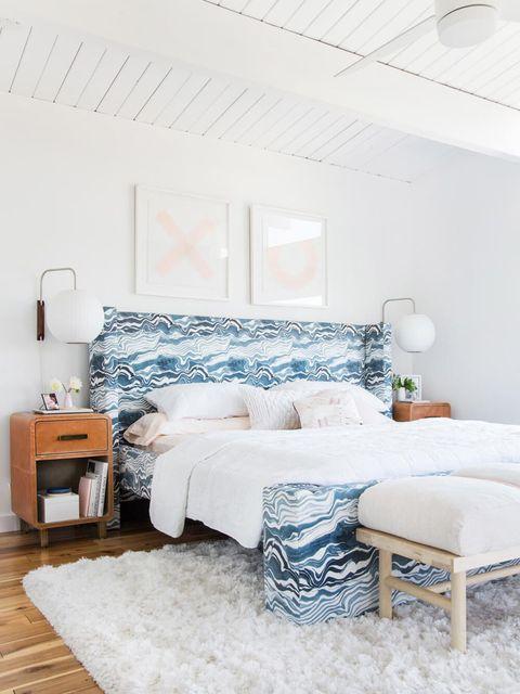 Bedroom, Furniture, Bed, Room, White, Interior design, Bed frame, Property, Bed sheet, Blue,