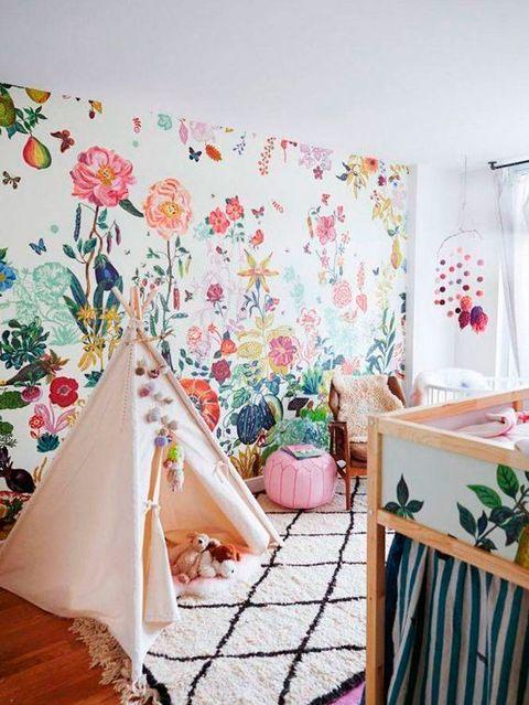Room, Pink, Interior design, Aqua, Textile, Wall, Curtain, Furniture, Wallpaper, Bedroom,