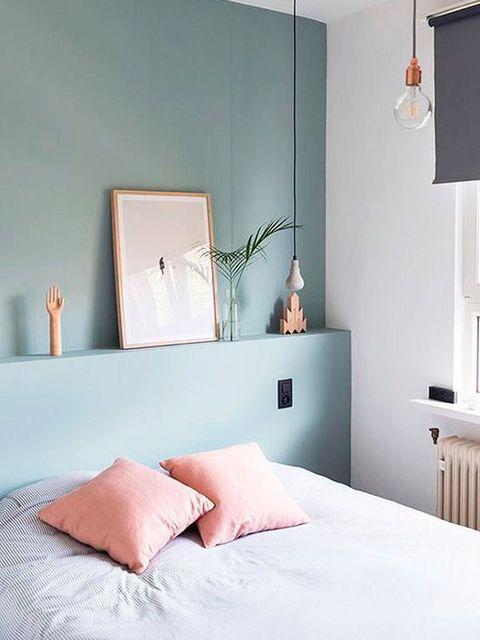 Bedroom, Furniture, Room, Bed, Interior design, Bed sheet, Property, Bed frame, Wall, Turquoise,