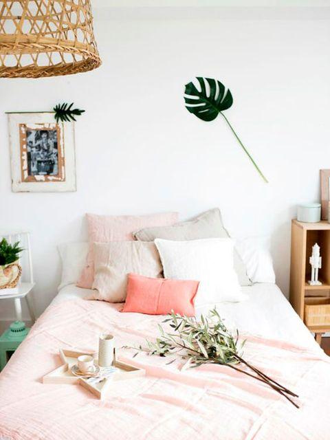 Bedroom, Room, Bed, Furniture, Wall, Interior design, Bed sheet, Nightstand, Leaf, Bedding,