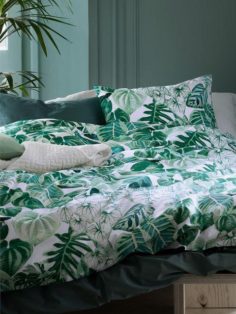Green, Room, Interior design, Textile, Bedding, Bedroom, Linens, Bed sheet, Teal, Home,