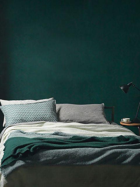 Textile, Room, Bedding, Linens, Bedroom, Bed sheet, Bed, Teal, Pillow, Grey,
