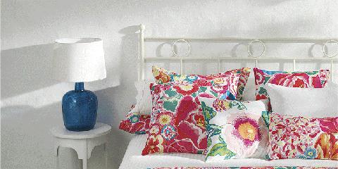 Blue, Room, Interior design, Textile, Bedding, Bed, Linens, Bed sheet, Bedroom, Pink,