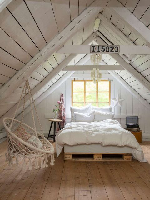 Attic, Room, Furniture, Bedroom, Bed, Canopy bed, Property, Daylighting, Ceiling, Interior design,