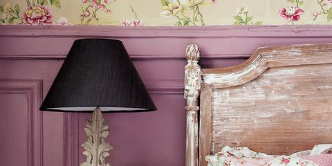 Room, Interior design, Wall, Furniture, Bed, Pink, Purple, Linens, Home, Bedding,