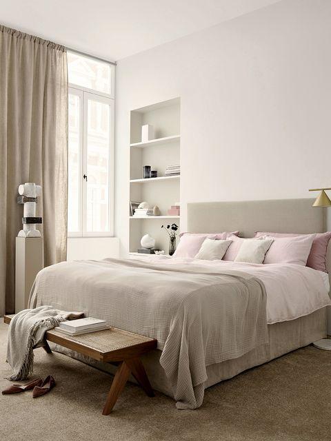 Bedroom, Furniture, Bed, Room, White, Bed sheet, Bed frame, Interior design, Mattress, Property,