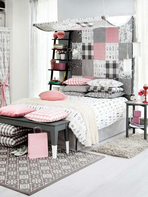 Room, Interior design, Floor, Textile, Furniture, Wall, Pink, Linens, Interior design, Flooring,