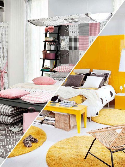Room, Yellow, Interior design, Furniture, Wall, Interior design, Linens, Home, Shelving, Design,