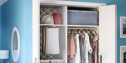 Room, Floor, Interior design, Wall, Furniture, Flooring, Closet, Linens, Teal, Drawer,