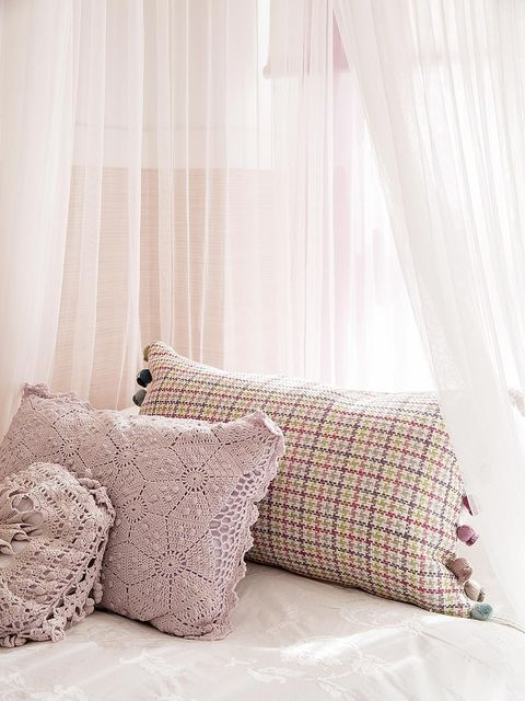 Furniture, Room, Curtain, Bedding, Interior design, Bedroom, Bed, Window treatment, Textile, Bed sheet,