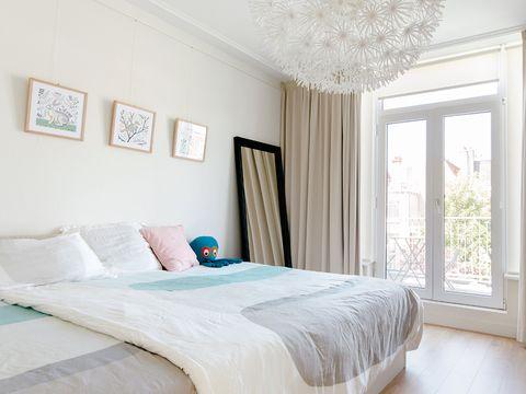 Bed, Room, Interior design, Property, Wall, Floor, Textile, Bedding, Bedroom, Bed sheet,