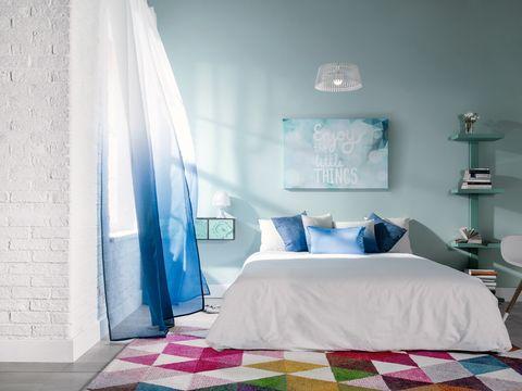 Blue, Bed, Room, Interior design, Floor, Wall, Textile, Bedding, Bedroom, Linens,