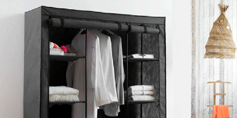 Room, Furniture, Shelving, Shelf, Interior design, Closet, Home accessories, Peach, Linens, Wardrobe,