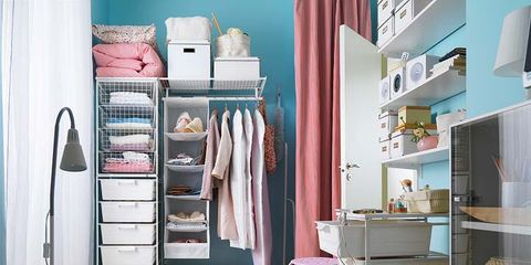 Room, Interior design, Textile, Furniture, Shelving, Linens, Floor, Shelf, Cabinetry, Bed,