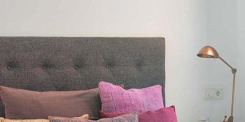 Room, Textile, Interior design, Pink, Purple, Cushion, Linens, Throw pillow, Magenta, Pillow,