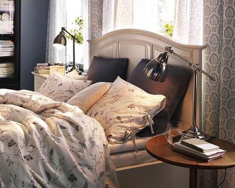 Interior design, Room, Textile, Lamp, Wall, Furniture, Home, Interior design, Linens, Bedding,