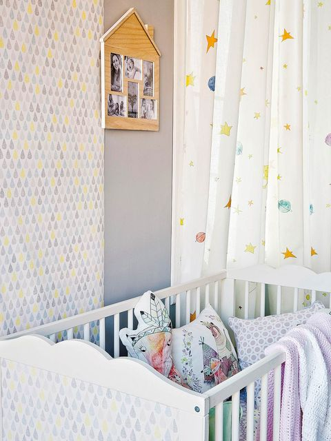 Room, Product, Furniture, Wall, Yellow, Wallpaper, Nursery, Bed, Curtain, Interior design,