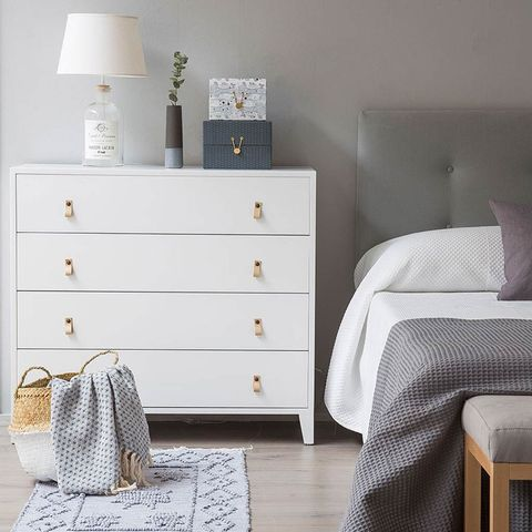 Room, Drawer, White, Chest of drawers, Furniture, Cabinetry, Grey, Home accessories, Dresser, Home,