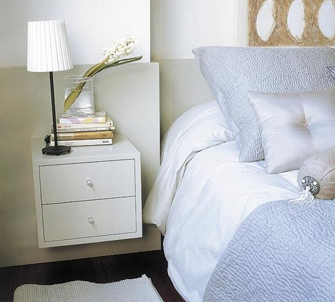 Room, Interior design, Textile, Wall, Furniture, Bedding, Linens, Drawer, Lampshade, Bedroom,