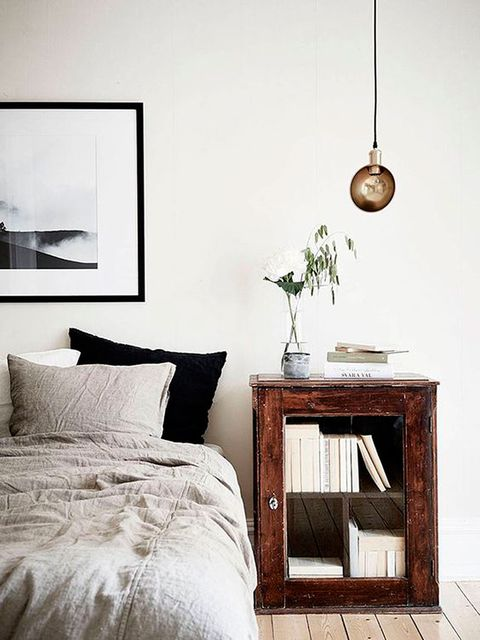 Furniture, Room, Bedroom, Nightstand, Interior design, Bed, Wall, Table, Chest of drawers, Floor,