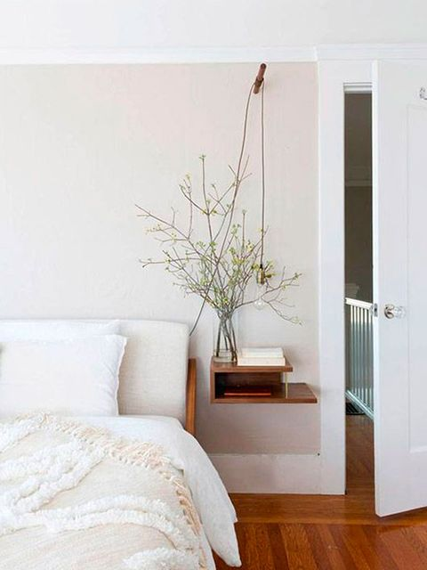White, Room, Furniture, Floor, Bed, Wall, Interior design, Bedroom, House, Wood flooring,