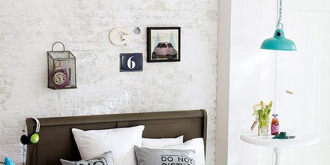 Blue, Room, Green, Interior design, Bed, Wall, Textile, Bedding, Bedroom, Furniture,
