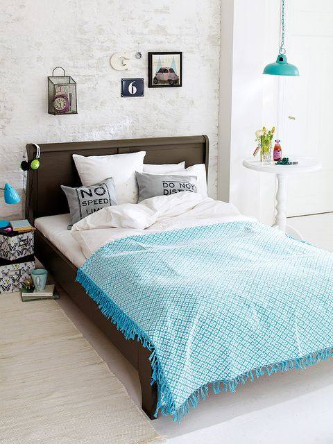 Blue, Room, Green, Interior design, Bedding, Textile, Bed, Bedroom, Wall, Turquoise,
