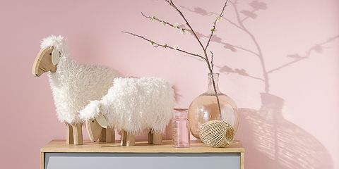 Wood, Sheep, Sheep, Twig, Interior design, Home accessories, Livestock, Still life photography, Sideboard, Drawer,