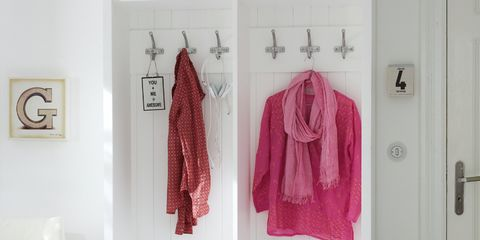 Room, Door, Wall, Interior design, Clothes hanger, Bag, Grey, Drawer, Luggage and bags, Lavender,