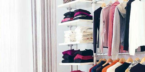 Room, Clothes hanger, Furniture, Closet, Chair, Curtain, Shelving, Shelf, Wardrobe, Armrest,