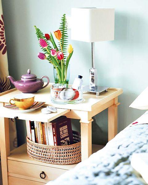 Room, Interior design, Home accessories, Lampshade, Lamp, Vase, Flower Arranging, Desk, Linens, Peach,