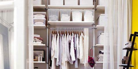 Room, Interior design, Textile, Linens, Clothes hanger, Shelving, Bed, Shelf, Interior design, Bedding,