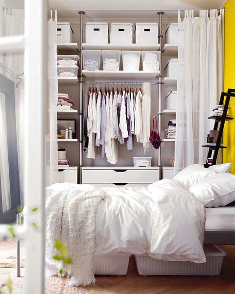 Room, Interior design, Textile, Linens, Floor, Clothes hanger, Shelving, Interior design, Home, Bed,