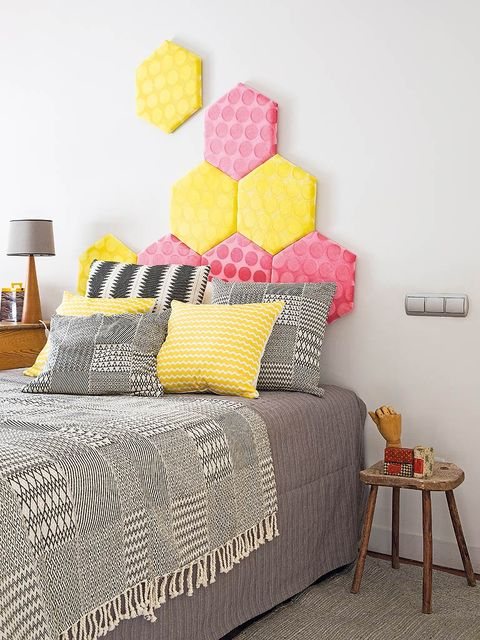 Yellow, Room, Textile, Wall, Furniture, Interior design, Linens, Bed, Bedding, Bedroom,