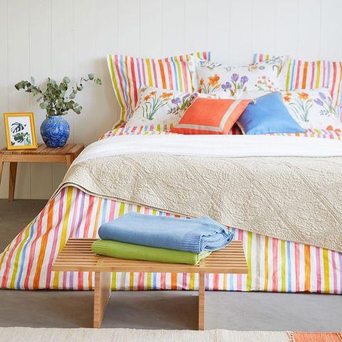 Furniture, Bed, Bedroom, Bed sheet, Room, Bed frame, Bedding, Orange, Pillow, Yellow,