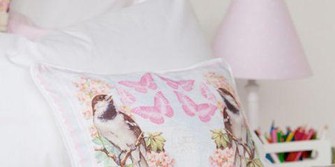 Textile, Interior design, Room, Bedding, Pink, Linens, Cushion, Bedroom, Bed sheet, Aqua,