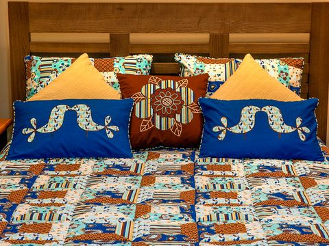 Blue, Textile, Majorelle blue, Electric blue, Linens, Cobalt blue, Cushion, Bedding, Home accessories, Pillow,