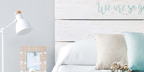 Room, Wall, Textile, Interior design, Linens, Teal, Turquoise, Bedding, Grey, Bed sheet,