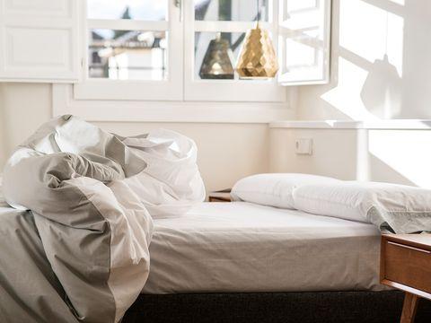 Furniture, Bed, White, Room, Bedroom, Bed sheet, Bed frame, Bedding, Product, Interior design,