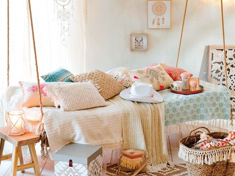 Interior design, Room, Interior design, Home accessories, Peach, Teal, Home, Lamp, Linens, Wicker,