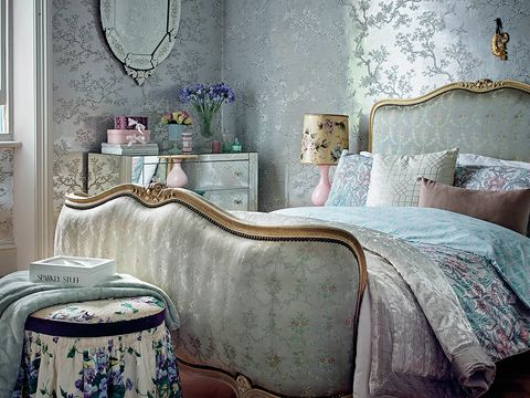 Room, Blue, Interior design, Wall, Textile, Bedroom, Bedding, Home, Furniture, Linens,