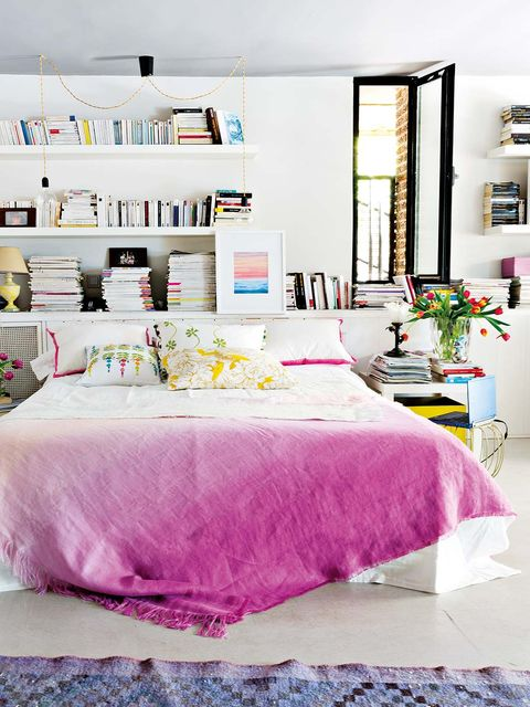 Bedroom, Bed sheet, Bed, Bedding, Furniture, Pink, Room, Bed frame, Interior design, Purple,