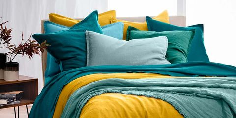 Bed sheet, Bedding, Aqua, Blue, Yellow, Turquoise, Furniture, Duvet cover, Teal, Bed,